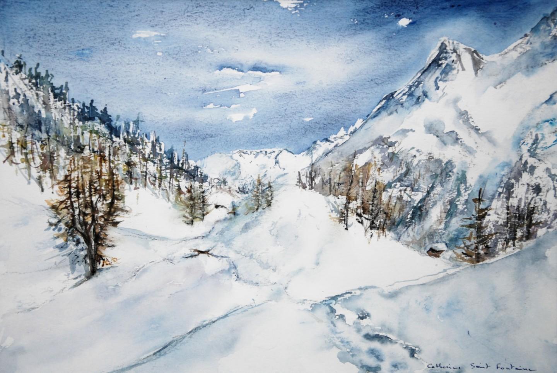 Catherinesaintfontaine - le lac bleu sous la neige