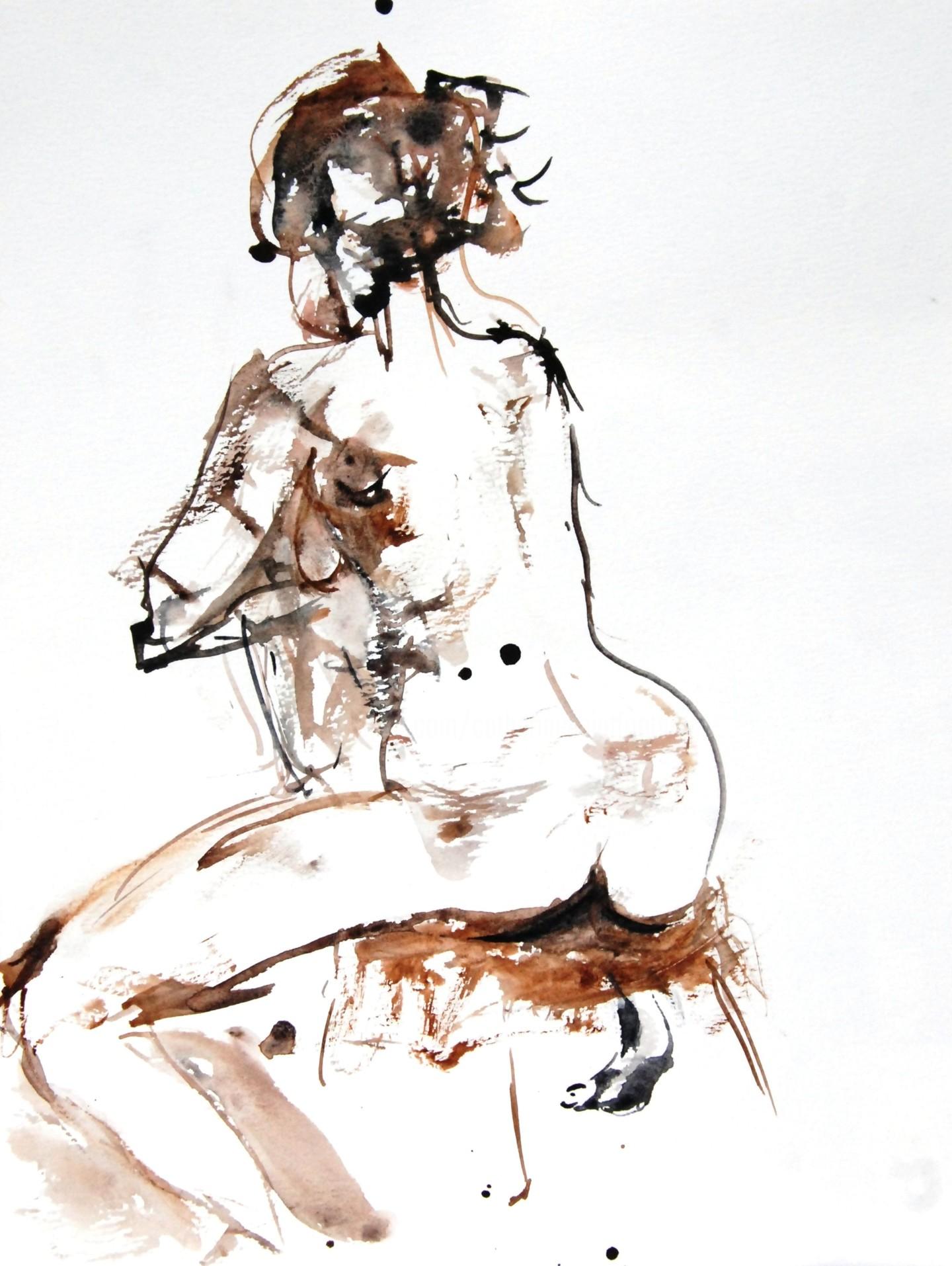 Catherinesaintfontaine - nu femme assise de dos