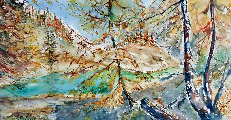 catherinesaintfontaine - lac bleu en automne Arolla