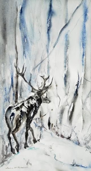 le vieux cerf dans la neige